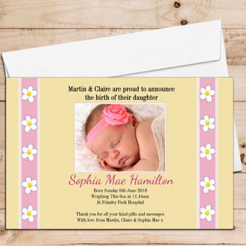 10 Personalised Baby Girl Birth Announcement Thank You Photo Cards N27